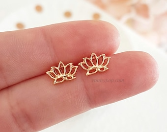 Lotus Earrings - Lotus Flower - Lotus Jewelry - Yoga Earrings - Flower Earrings - Dainty - Silver - Gold - Gift for her - Friend Gift - Gift