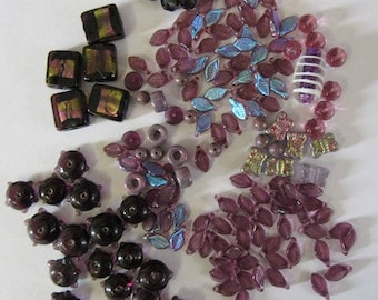 97 Grams Czech Purple Glass Mix, Leaves, Rectangle, Metallic, Garden Butterfly, 6mm 8mm, Jewelry, Quilt, Necklace Kit, Britz Beads Supply