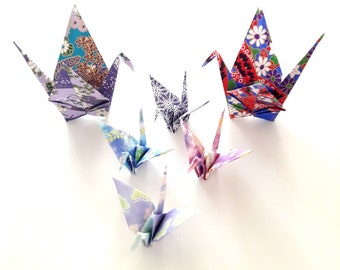 Purple gradient Japanese paper origami cranes in 6 birds, gold and pink