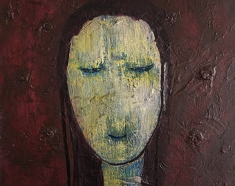 """Acrylic Painting, Wall Art, Woman, Abstract, Small, 12""""x12"""", Textured, Texture, Female, Artwork"""