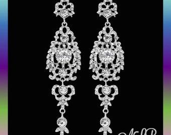 Bridal earrings, wedding earrings, silver bridal accessories, chandelier bridal earrings, bridal jewelry, crystal earrings, gifts,
