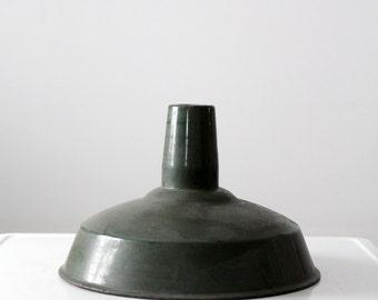 industrial light shade, 1930s warehouse light, green pendant shade