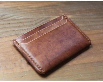 Leather card wallet, 4 pockets, slim wallet