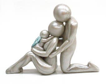 Loss of A Child - Mother, Father and Baby handmade sculpture - can be made with up to 4 siblings - remembrance keepsake - made to order