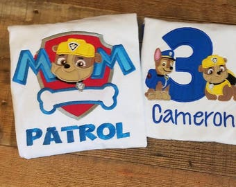 Fast Shipping!!! pups to the rescue birthday top/ rubble and chase top/ paw patrol