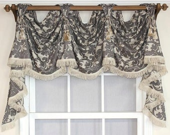 Damask victory swag valance in gray or spa with optional chairties.