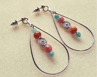 Amazonite & Coral Glass Hoop Earrings