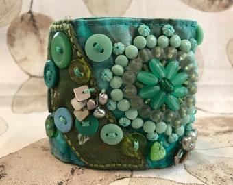 Empress of Jade Handmade Art Cuff Bracelet