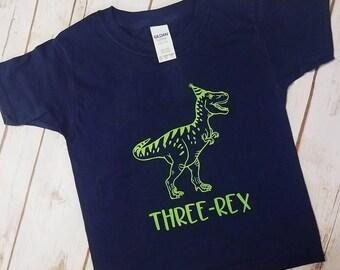 Three-Rex Toddler/Youth Navy and Green Dinosaur Birthday Shirt