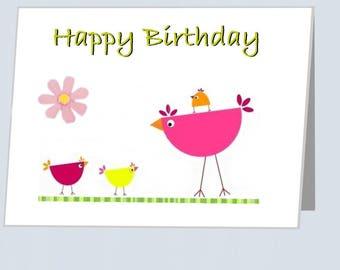 Happy Birthday card UK - Greeting cards with embellishments flowers Birthdays card bird family for boyfriend  Card for girlfriend friend Mum