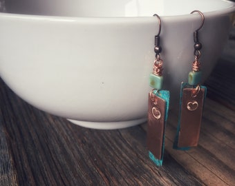 Bronze Patina Heart Earrings with Stone
