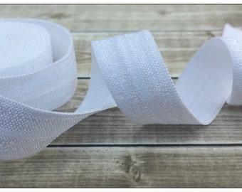 5/8 WHITE Fold Over Elastic 5 or 10 YARDS