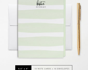 Flat or Folded Note Cards // Set of 10 // Watercolor Pastel Green Stripes // Personalized Stationery // S116