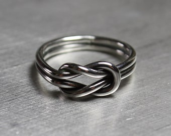 Sailor Knot Ring, Silver Infinity Ring, Sterling Silver Ring, Double Knot Ring, Love Knot