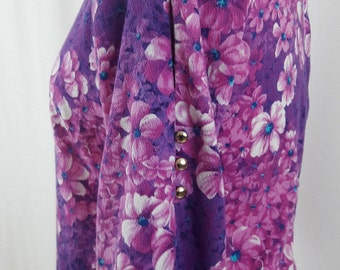 1970's Purple and Pink Floral Maxi Dress