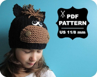 English-French Two Needle KNITTING PATTERN / Digital Download / #57 / Knitted Horse Hat / 6-16M to 5 years-Adult / US11 / 8mm