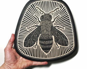 Hand Carved Honey Bee Woodcut Wall Art