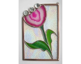 Pink Flower Sun Catcher Agate Slice Stained Glass Panel Handmade