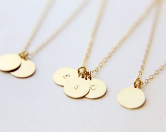 Personalized Gold Circle Initial Necklace / Gold Filled Disk Necklace/  Personalized Gift  EP010
