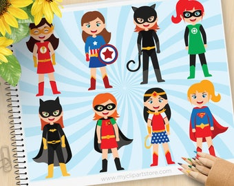 Superhero Girls Clipart, Bat Girl, Wonder Woman, Cat Woman, Super Girl, Captain America, Commercial Use, Vector clip art, SVG Files