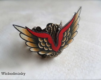 NEW tattoo style unique wing ornate ring in cream black and red