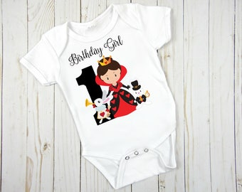 Birthday Queen Of Hearts Themed Onezee Or  Shirt;  1st Birthday and Up ;Personalized For Free; Fast Shipping