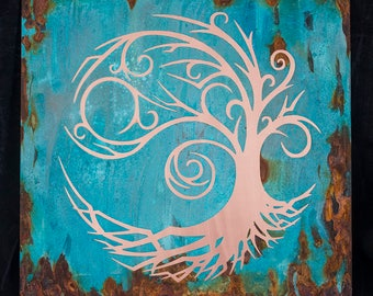 Swirly Copper tree of life patina art in blues