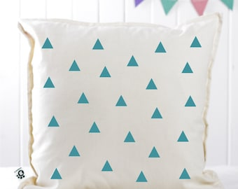 "FREE SHIPPING - Handmade Modern Decorative Printed Pillow Cover - Triangles - Nursery / Kids Pillow - Geometric - Cushion Cover - 20""x20"""