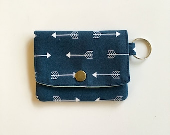 Handmade ID wallet / Credit Card Holder/ Wallet / Business Card Case/ Gift Card Holder/ Arrow navy