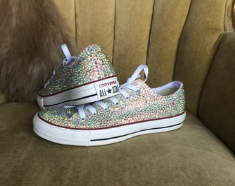 Authentic converse all stars in AB crystals. Custom made to order crystal covered chucks.