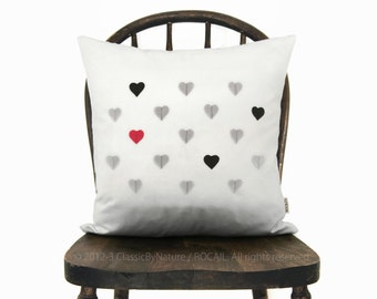 Sale | Tiny hearts pillow case, Valentine's day modern home decor, Love | Black, grey, red and white throw cushion cover in 16x16 / 40x40 cm