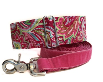 Martingale Dog Collar and Leash, 2 Inch Martingale Collar, Paisley Martingale Collar, Paisley Dog Collar, Sighthound Collar