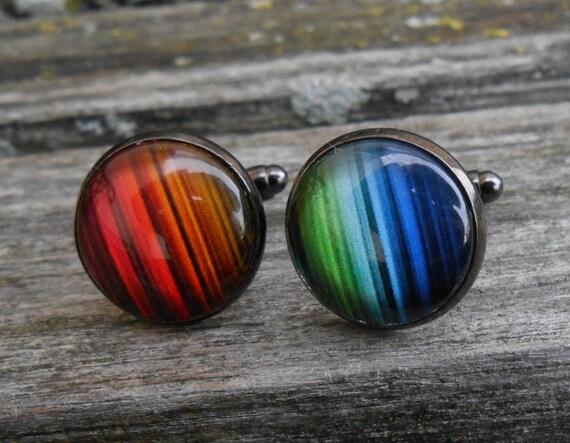 Rainbow Cufflinks. Wedding, Men's Christmas Gift, Groomsmen, Dad, Anniversary, Birthday, ROYGBIV, Gay Pride