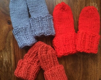 Hand knitted baby and toddler mittens