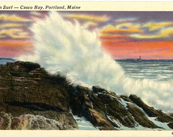 Casco Bay Ocean Surf Portland Maine Vintage Postcard (unused)