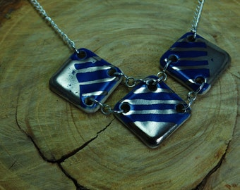Handcrafted Ceramic Necklace   3 Piece Geometric in Cobalt Blue with Real Silver Accents