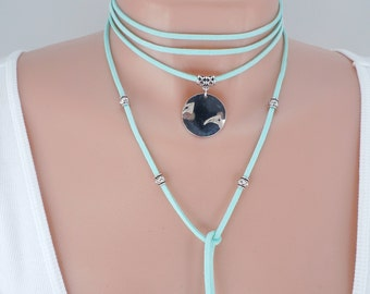 Leather Wrap Choker, Leather Choker, Boho Choker, Leather Wrap Necklace, Long Necklace, Turquoise Leather, Silver Pendant, Silver Beads