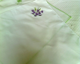 Two Vintage White Embroidered Hankies Or Handkerchiefs