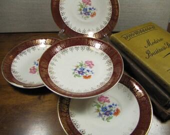 Vintage Saucers - Dark Red Rim - Gold Filigree - Floral Center - Set of Four (4)