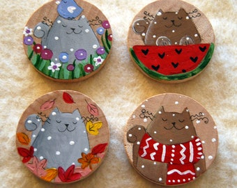Set four hand painted magnets cat seasons