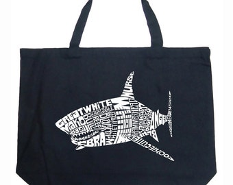 Large Tote Bag - Created using popular Species of Shark