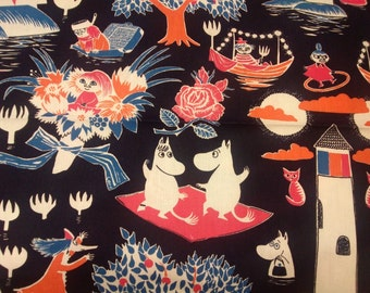 Curtain panel navy blue white pink Moomin Characters Modern Decor Cafe curtain Kitchen valance , also runner , napkins available, great GIFT
