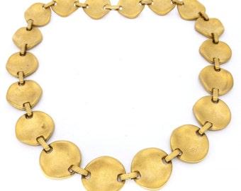 Vintage Hammered Gold Tone Panel Signed Necklace