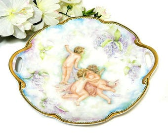 Hand Painted Haviland Limoges Serving Plate Cherubs and Lilacs