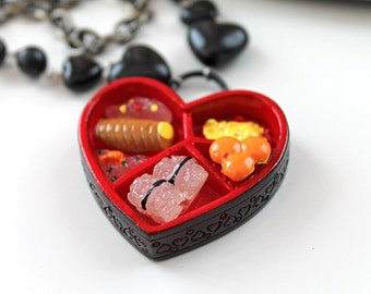 SALE Heart bento double  chain necklace Gothic lolita red black kawaii