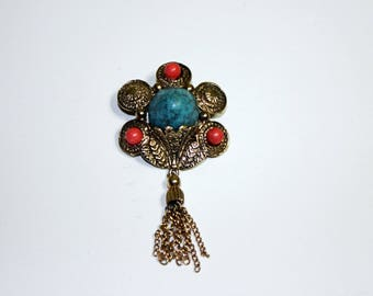 Etruscan Inspired Brooch w/tassel, faux turquoise, coral and gold tone metal
