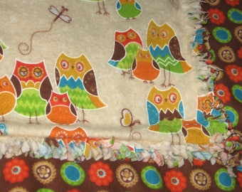 Rag Flannel baby blanket with Owls