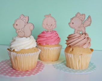 Baby shower Cupcake topper - woodland animals, cartoon, wood etched. SET OF 6