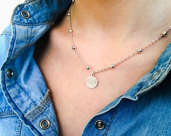 Necklace with an aluminum chain with beads and a 925 silver coin pendant