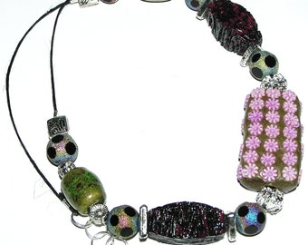 Kashmiri Bead, Sparkly Rainbow Spotted Glass Beads, Casual Necklace